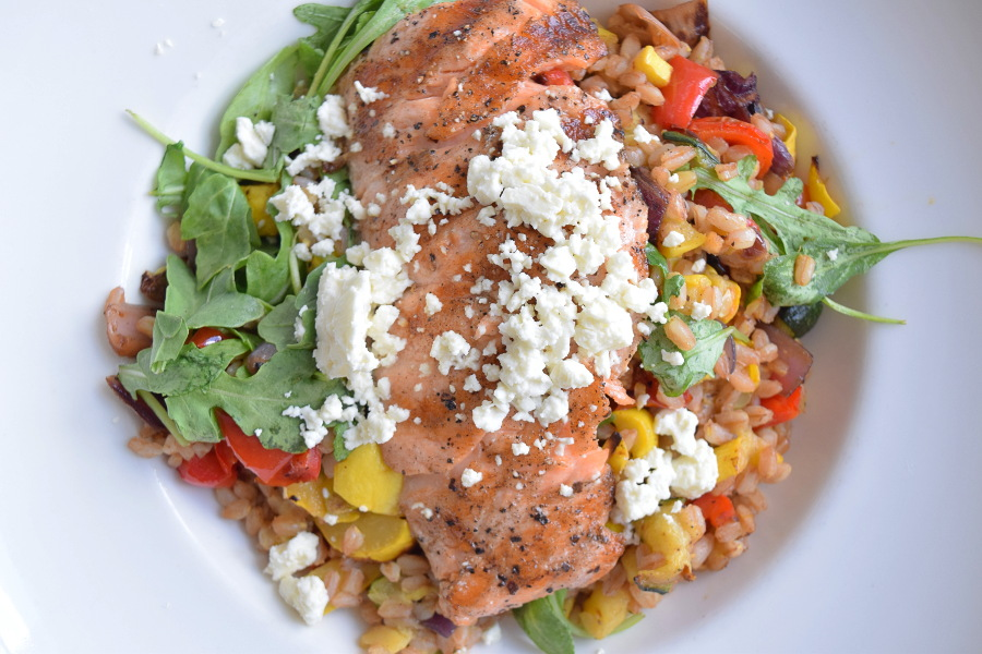 Grilled Salmon and Warm Farro, garden rocket, roasted vegetables, pine nuts, crumbled feta, garlic-oregano vinaigrette